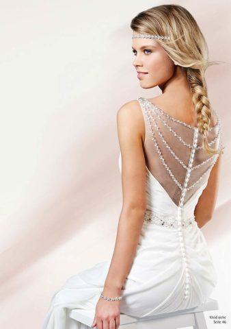 Brautkleid Berlin - Weißes Brautkleid mit transparenten Rücken von Weise